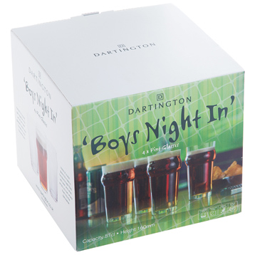 Boy's Night In Pint Glasses
