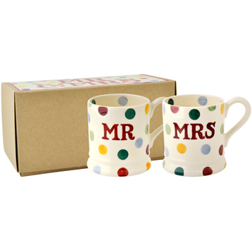 Mr & Mrs Set of 2 1/2 Pint Mugs