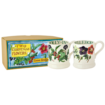Winter Flowers Set of Two 1/2 Pint Mugs