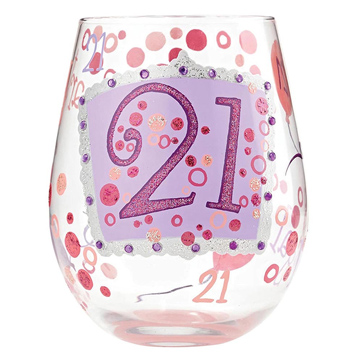 '21' Stemless Wine Glass
