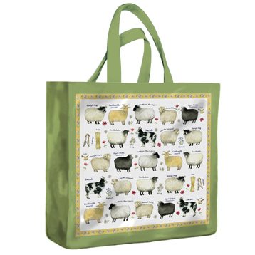 Sheep Breeds Medium PVC Gusset Bag