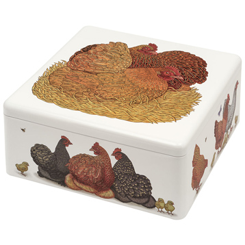 Chickens Large Square Tin